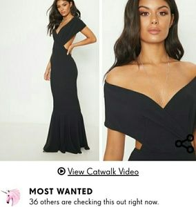 NWT Black Bardot Cut Out Fishtail Dress US Size 0